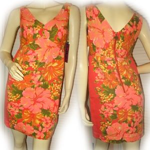 Womens Mini Sheath Dress Hawaiian Floral Hibiscus